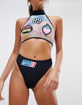 Jaded London Badges High Leg Bikini Bottoms