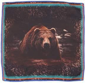 Etro Bear Printed Silk Satin Pocket Square