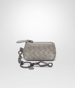 Bottega Veneta Key Ring In Fume' Intrecciato Nappa
