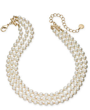 Charter Club Gold-Tone Imitation Pearl Triple-Row Choker Necklace, 14 + 3 extender, Created for Macy's