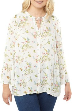 Evans Plus Size Women's Bell Sleeve Floral Blouse