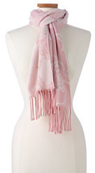Lands' End Women's Luxetouch Floral Jacquard Scarf-Edgewater Colorblock