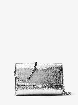 Michael Kors Yasmeen Small Crackled Metallic Leather Clutch - SILVER - STYLE