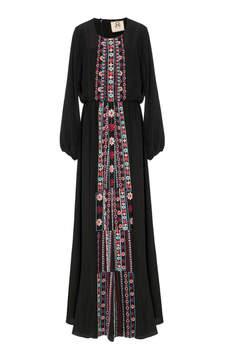 Figue Rebecca Embroidered Silk Dress