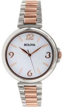 Bulova Women's 'Classic' Stainless Steel and Rose Gold Plated Quartz Watch