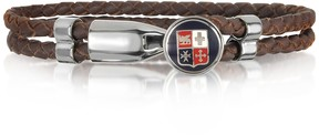 Forzieri Blue Navy Maritime Republics Metal and Leather Men's Bracelet