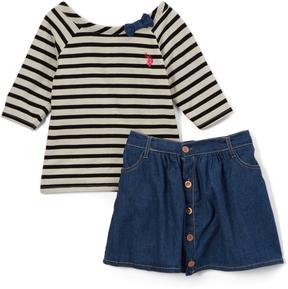 U.S. Polo Assn. Black Stripe Top & Skirt - Toddler & Girls