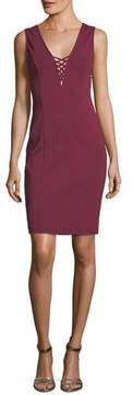 Cupcakes And Cashmere Zody V-Neck Lace-Up Sleeveless Sheath Dress