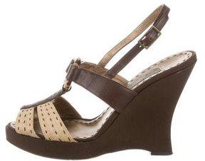 Alberta Ferretti Leather Wedge Sandals