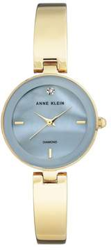 Anne Klein Diamond-Accented Light Blue Dial Goldtone Bracelet Watch