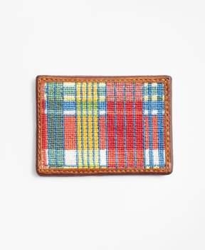 Brooks Brothers Madras Needlepoint Card Case