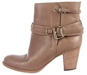Christian Dior Leather Buckle-Accented Booties