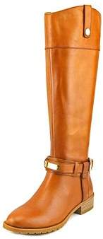 INC International Concepts Fabbaa Women Round Toe Leather Tan Mid Calf Boot.
