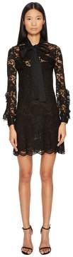Francesco Scognamiglio Bow Front Lace Long Sleeve Dress Women's Dress