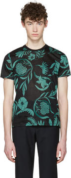 Ami Alexandre Mattiussi Black and Green Floral T-Shirt