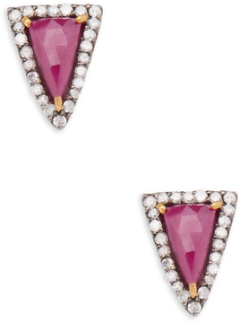 Artisan Women's Trillion-Cut Ruby & Diamond Stud Earrings