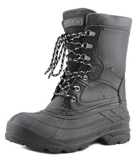 Kamik Nation Pro Men Round Toe Leather Black Snow Boot.
