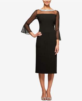 Alex Evenings Embellished Illusion Sheath Dress
