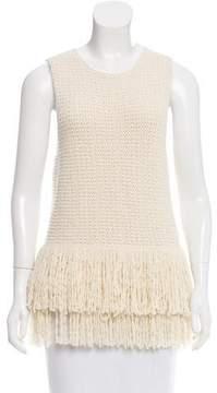 Celine Fringe-Trimmed Wool Top