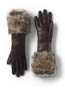 Lands' End Lands'end Women's Leather and Faux Fur Gloves