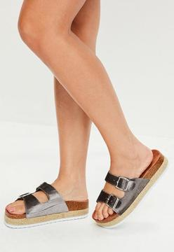 Missguided Grey Buckle Detail Flat Sandals