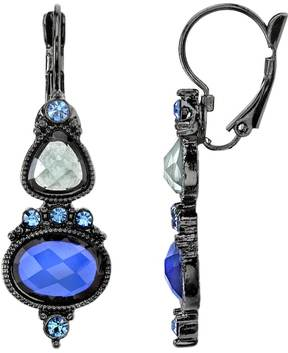 1928 Blue Simulated Crystal Drop Earrings