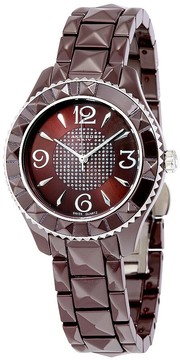 Akribos XXIV Akribos Brown Pyramid-Cut Ceramic Ladies Watch