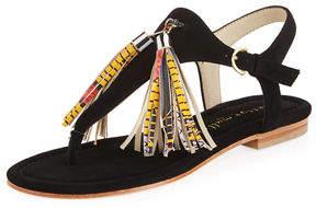 Bettye Muller Samba Suede Tassel Thong Sandal