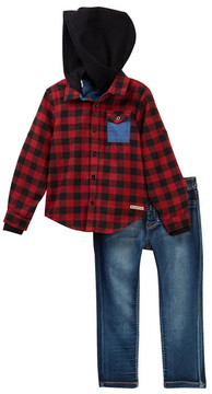Hudson Woven Flannel Thermal Hoodie & Pants (Toddler Boys)