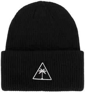 Palm Angels logo patch beanie hat