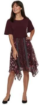 Elle Women's Mixed-Media Handerchief Hem Dress
