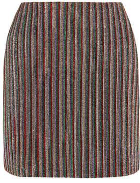 Emilia Wickstead Striped Metallic Ribbed-knit Mini Skirt