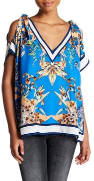 Flying Tomato Floral Shoulder Cutout Blouse