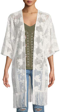 Dex Embroidered Mesh Kimono w/ Fringe Trim