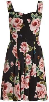 Dolce & Gabbana Rose-print silk-blend charmeuse dress