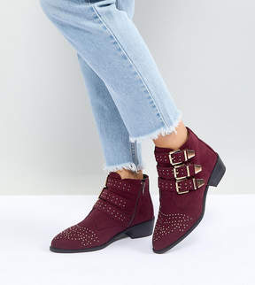 New Look Wide Fit Studded Western Flat Ankle Boot