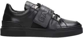 Balmain Logo Stretch Black Leather Sneakers