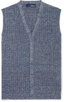 Lardini Ribbed Mélange Cotton And Linen-Blend Vest