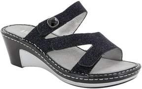 Alegria Loti Glittery Leather Wedge Slide Sandals