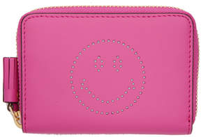 Anya Hindmarch Pink Small Smiley Zip Around Wallet
