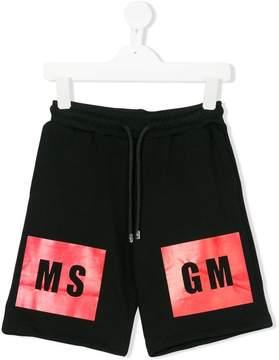 MSGM logo jersey shorts