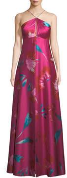 Aidan Mattox Macro Floral-Print Halter Gown