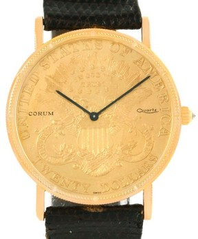 Corum 20 Dollars Coin Double Eagle 18K Yellow Gold & Leather Quartz 36mm Mens Watch 1906