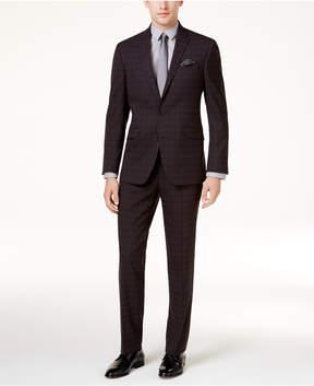 Kenneth Cole Reaction Men's Slim-Fit Black Plaid Sheen Techni-Cole Suit
