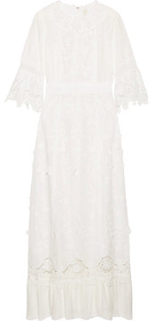 Anna Sui Daisy Fields Appliquéd Silk-blend And Broderie Anglaise Cotton Maxi Dress - White