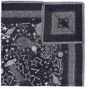 Valentino Men's Blue/grey Wool Scarf.
