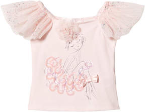 Kate Mack Biscotti Pink Tulle Sleeved Ballerina Girl Print Top