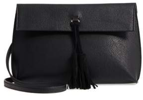 Street Level Faux Leather Tassel Tote - Black