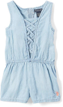 U.S. Polo Assn. Light Blue & White Stripe Lace-Up Romper - Toddler & Girls