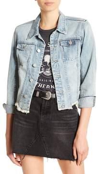 Blank NYC BLANKNYC Distressed & Frayed Asymmetrical Denim Jacket